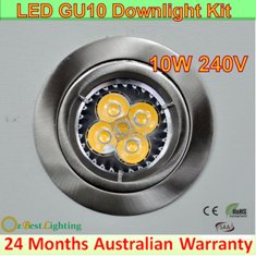 10W 240V GU10 LED downlight kits -Chrome Fitting Free Shipping