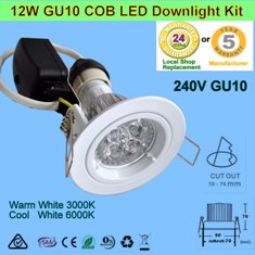 10W 240V GU10 LED downlight kits -White Fitting Free Shipping