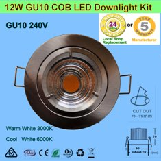 12W 240V GU10 COB LED Downlight Kit-Chrome Fitting Free Shipping