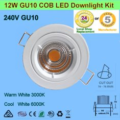 6 X 12W 240V GU10 COB LED Downlight Kit-White Fitting