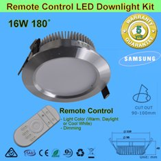 4 X 16W 180° Remote Control LED Downlight Kit-Chrome