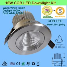 4 X 16W COB LED Downlight Kit-Chrome