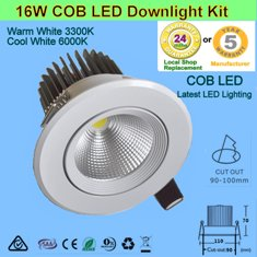 4 X 16W COB LED Downlight Kit-White