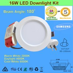 5 X 16W 180° LED Downlight Kit-White
