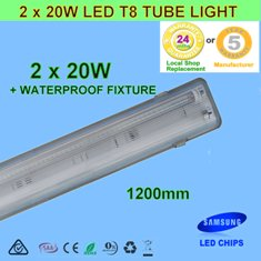 Waterproof Double 20W 1.2m LED T8 Tube Light