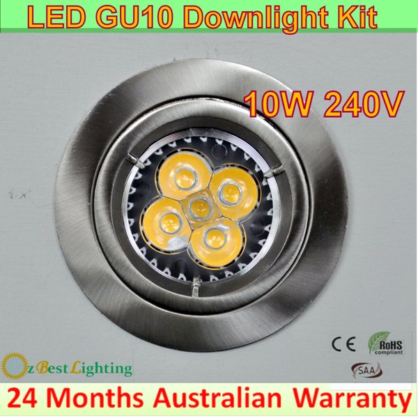 6 x 10w 240v gu10 led downlight kits chrome fitting 10w gu10 chrome led downlight kit 102. Black Bedroom Furniture Sets. Home Design Ideas