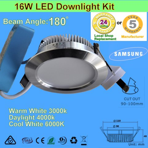 4 X 16W 180° LED Downlight Kit-Chrome